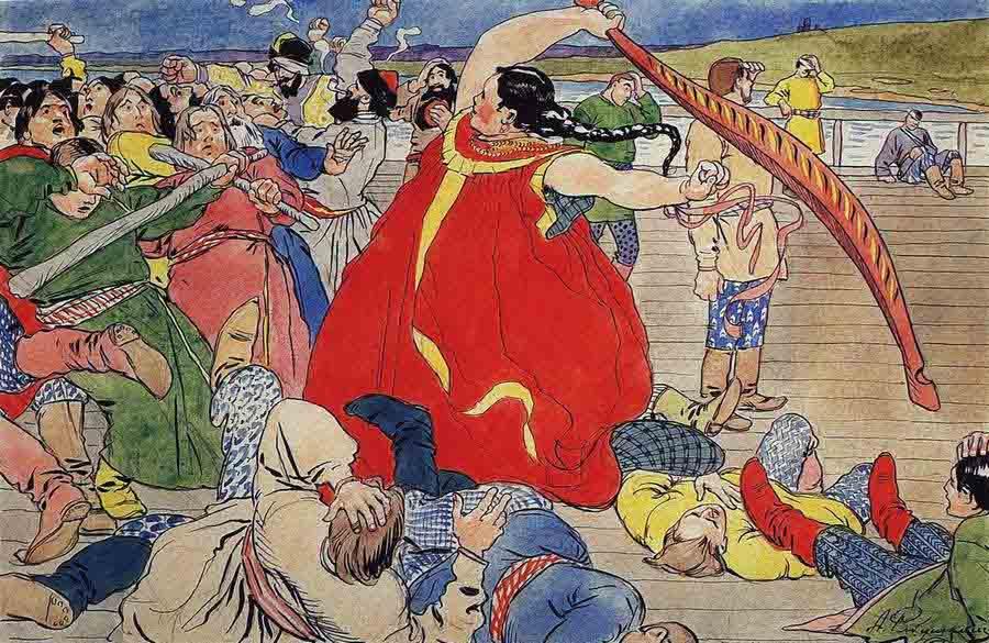 Эскиз иллюстрации к былине о Василии Буслаеве