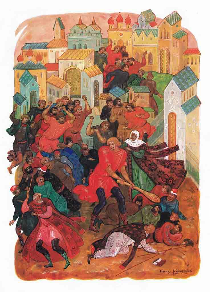 Иллюстрация к былине «Василий Буслаев и мужики новгородские»