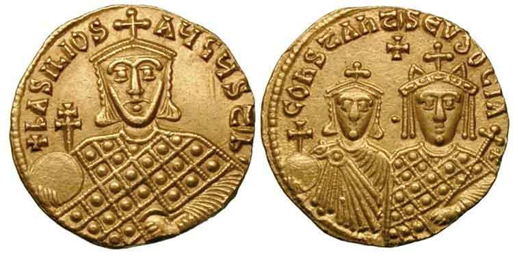 золотой солид Василия I Македонянина