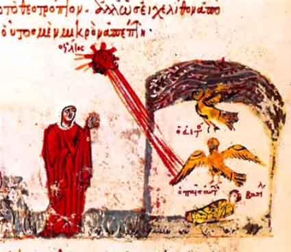 мать Василия видит знамение в виде орла, охраняющего ее малолетнего сына